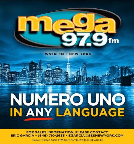 WSKQ-FM MEGA 97 9FM HISPANIC STATION RANKS NO  1 IN NEW YORK